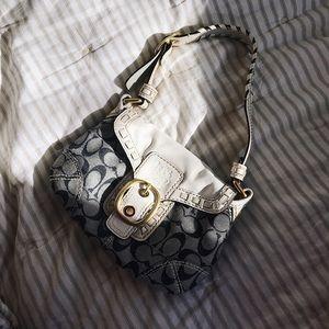 vintage navy & white small coach purse